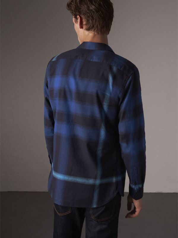 Ombré Check Cotton Flannel Shirt in Cobalt Blue - Men | Burberry - cell image 2