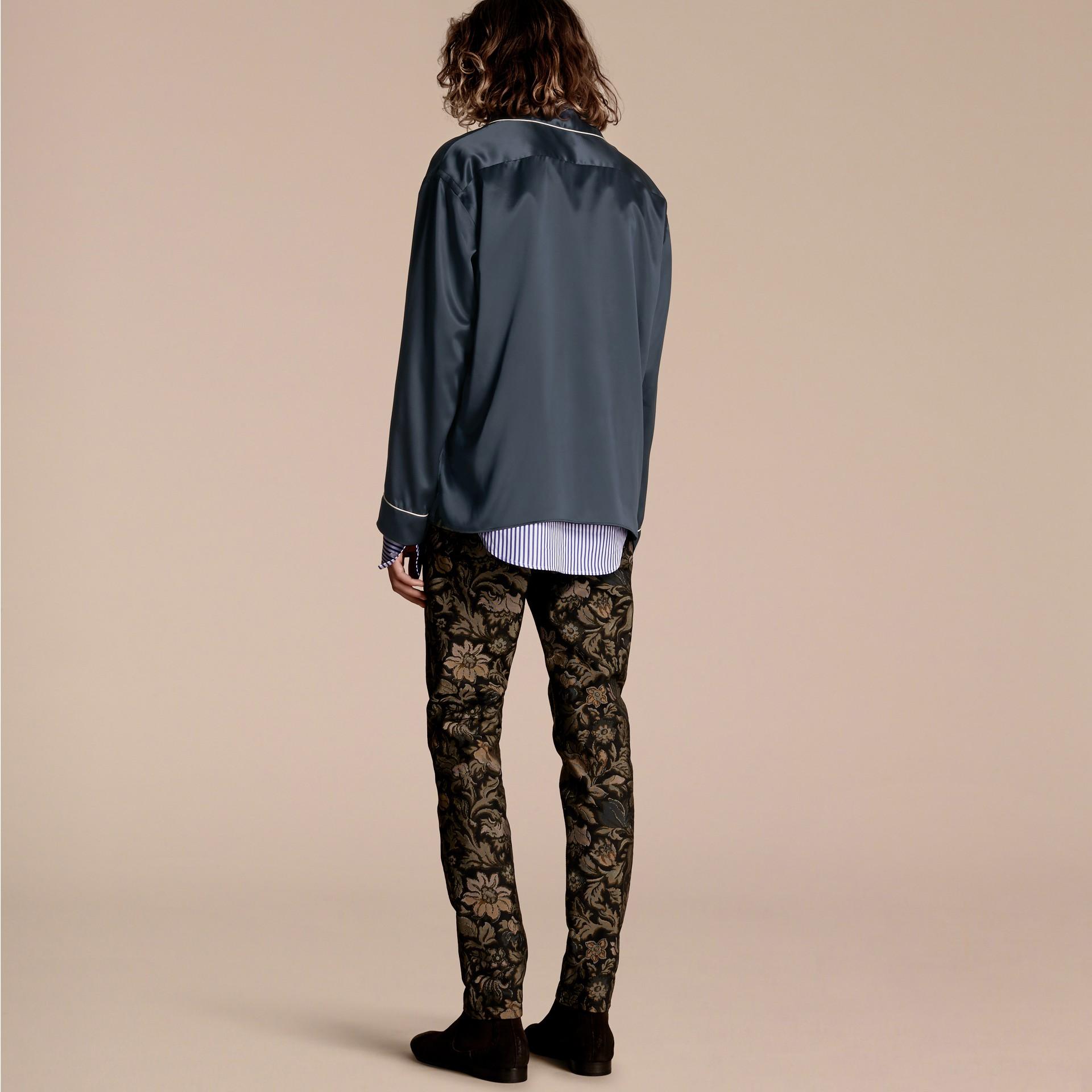 Navy Silk Pyjama-style Shirt - gallery image 3