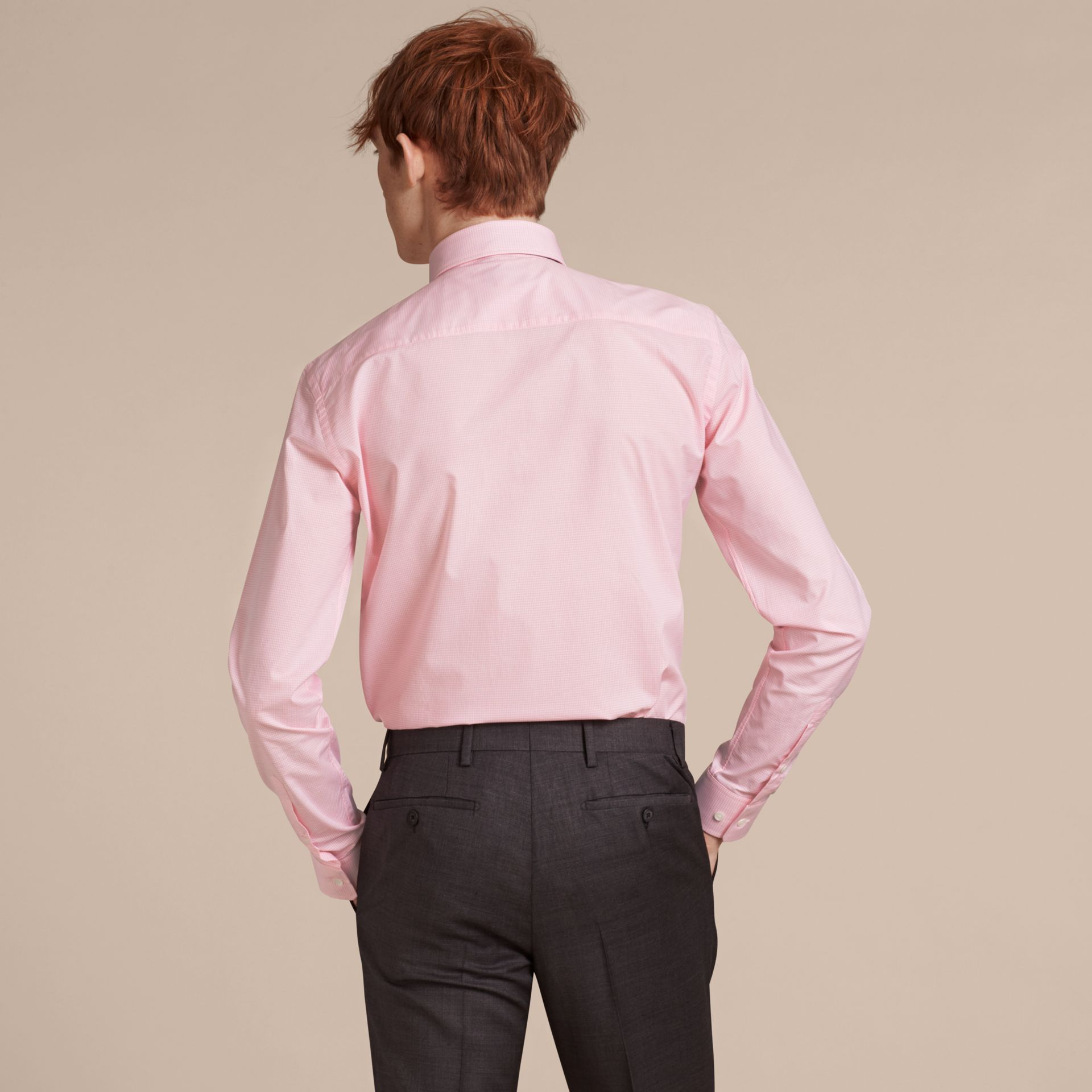 Slim Fit Button-down Collar Gingham Cotton Poplin Shirt in City Pink - gallery image 3
