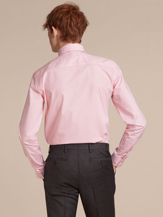 Slim Fit Button-down Collar Gingham Cotton Poplin Shirt in City Pink - cell image 2