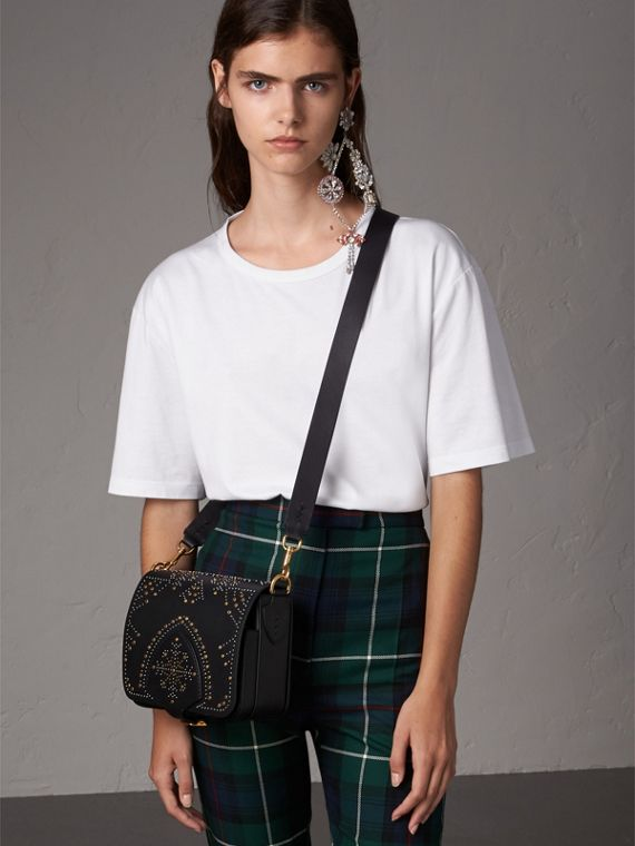 The Satchel squadrata in pelle con rivetti (Nero) - Donna | Burberry - cell image 2