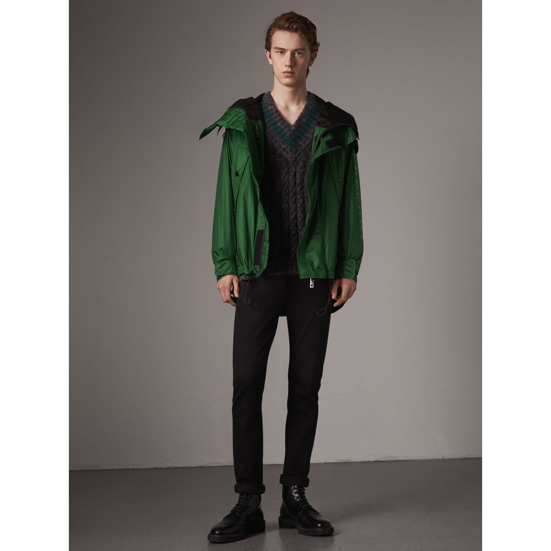 Lightweight Hooded Jacket in Pigment Green - Men | Burberry - gallery image 1