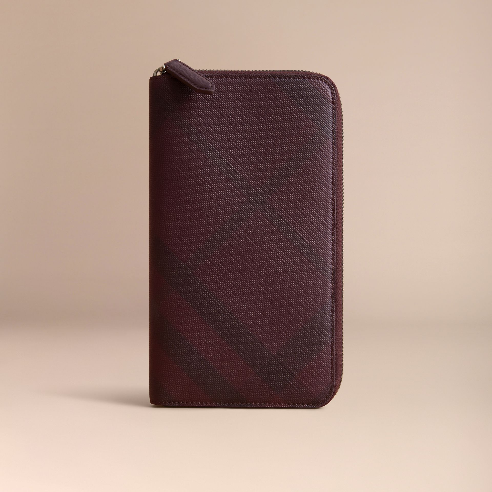 London Check Ziparound Wallet in Deep Claret - Men | Burberry - gallery image 6