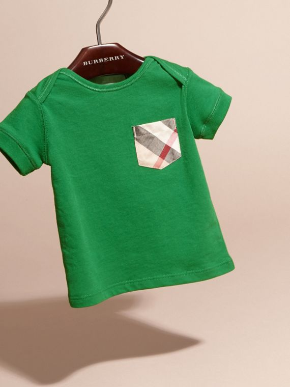 Check Pocket T-Shirt Bright Pigment Green - cell image 2