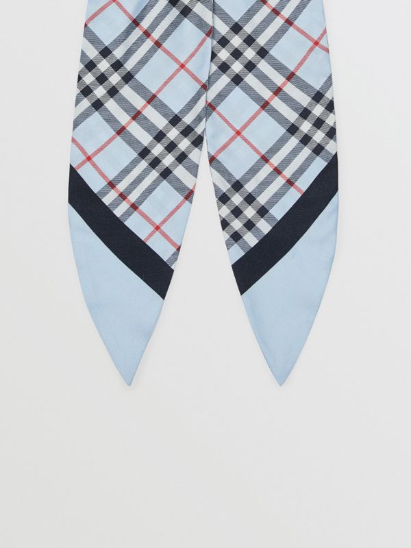 Vintage Check Print Silk Hair Scarf in Pale Blue - Women | Burberry Australia - cell image 3