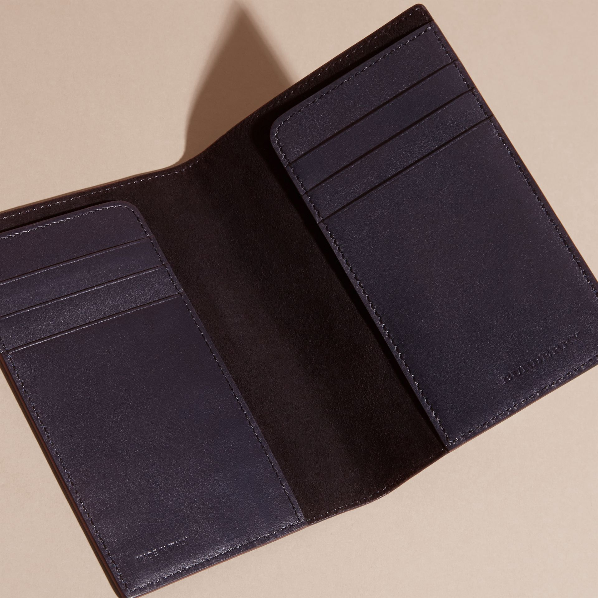 Dark navy London Leather Passport and Card Holder Dark Navy - gallery image 5