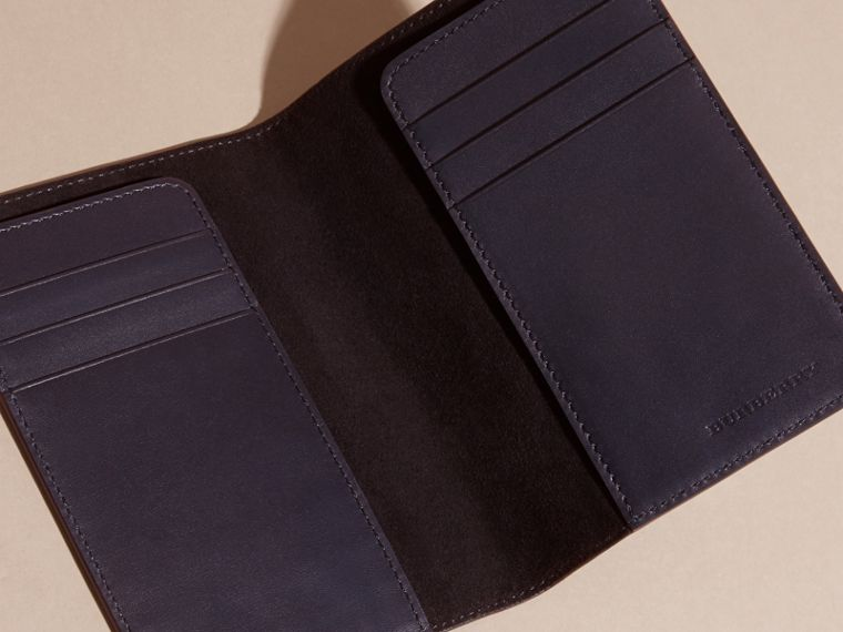 London Leather Passport and Card Holder in Dark Navy - Men | Burberry - cell image 4