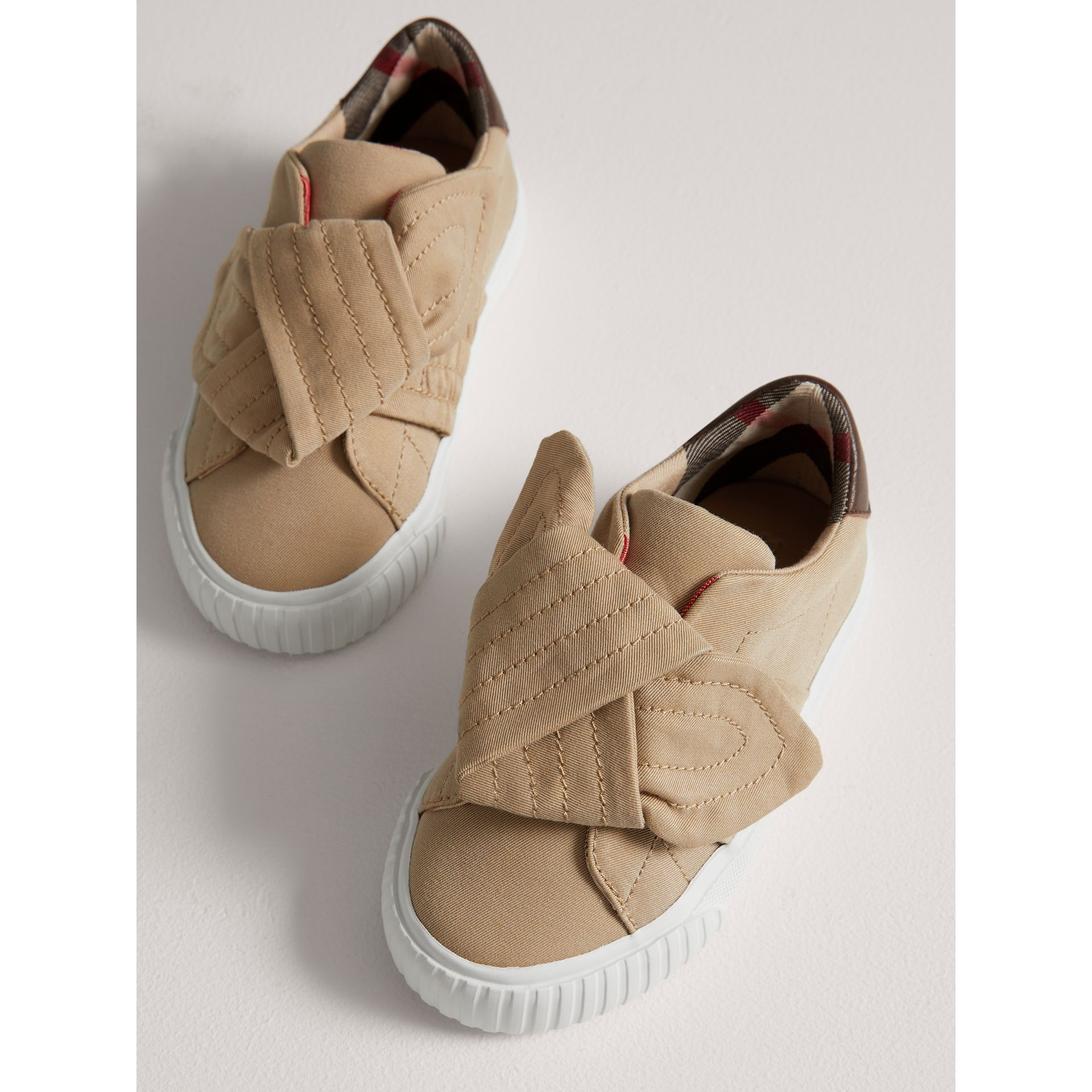 Trench Knot Cotton Gabardine Trainers in Honey | Burberry - gallery image 3