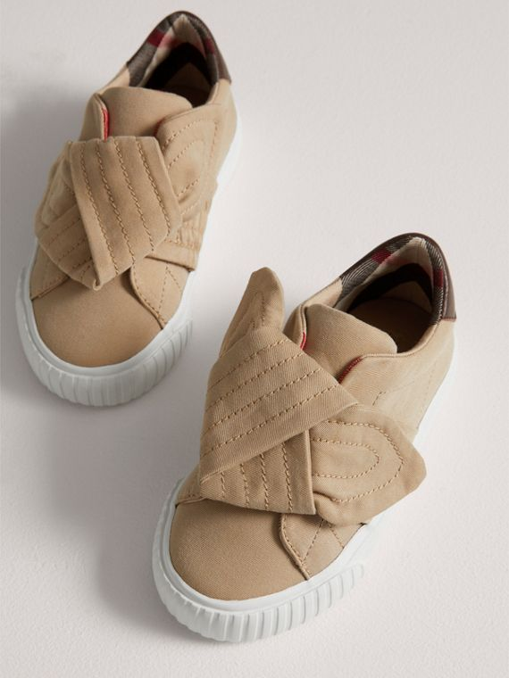 Trench Knot Cotton Gabardine Trainers in Honey | Burberry - cell image 3