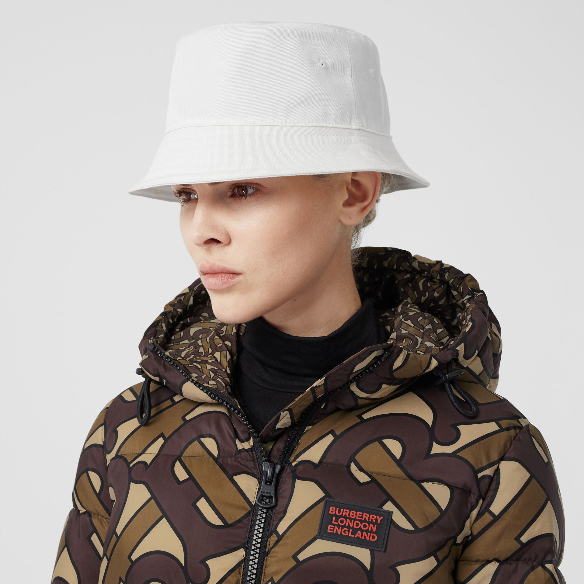Logo Appliqué Cotton Bucket Hat in White | Burberry United States - gallery image 2