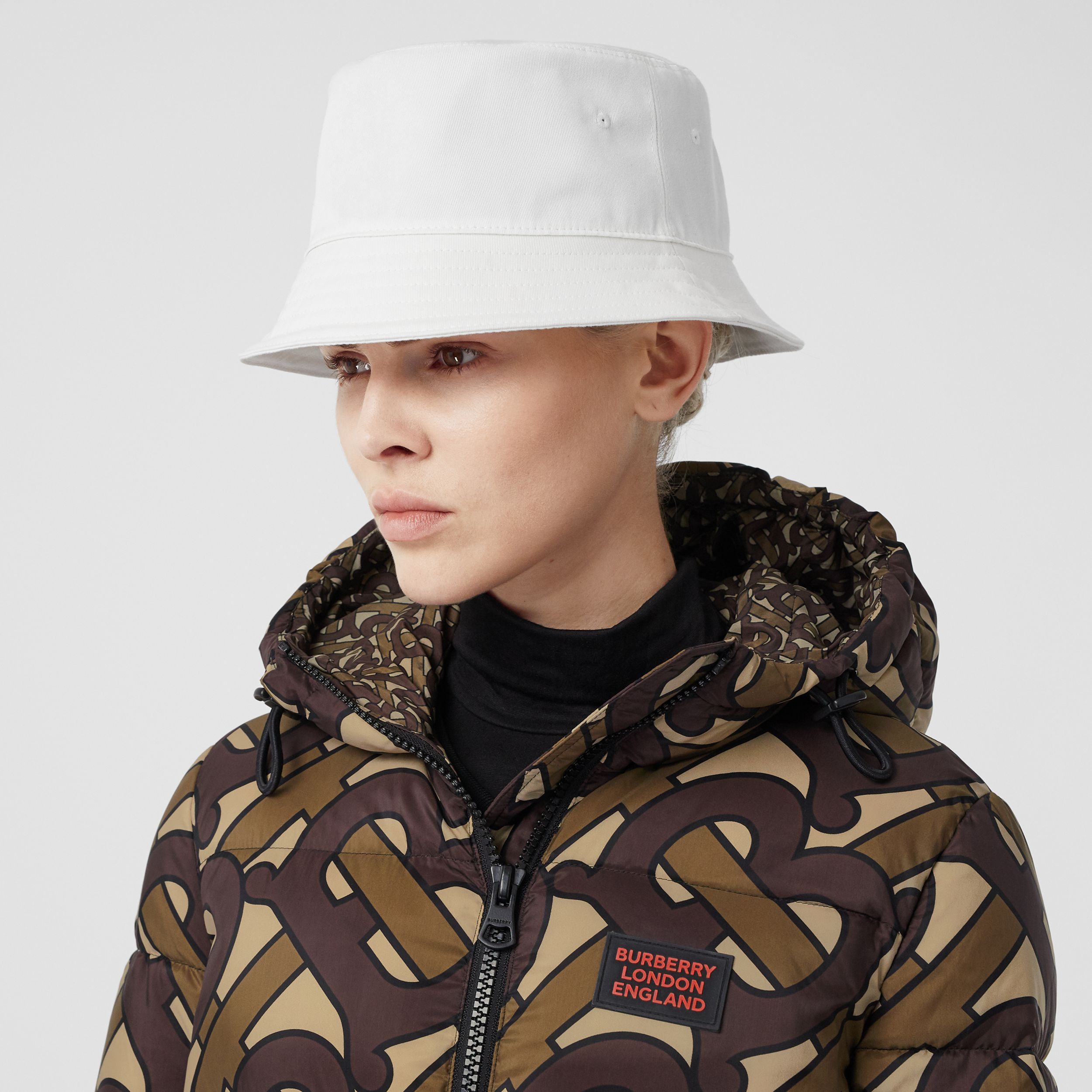 Logo Appliqué Cotton Bucket Hat in White | Burberry - 3