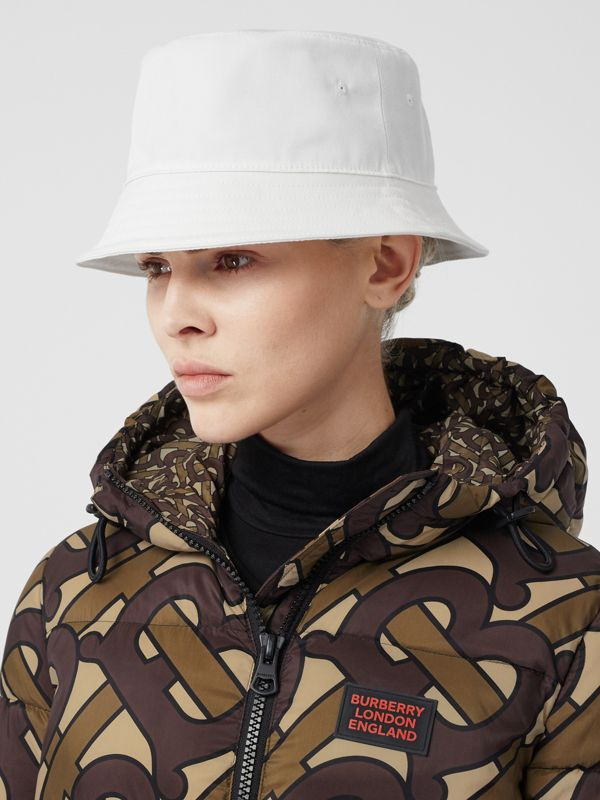 Logo Appliqué Cotton Bucket Hat in White | Burberry United States - cell image 2