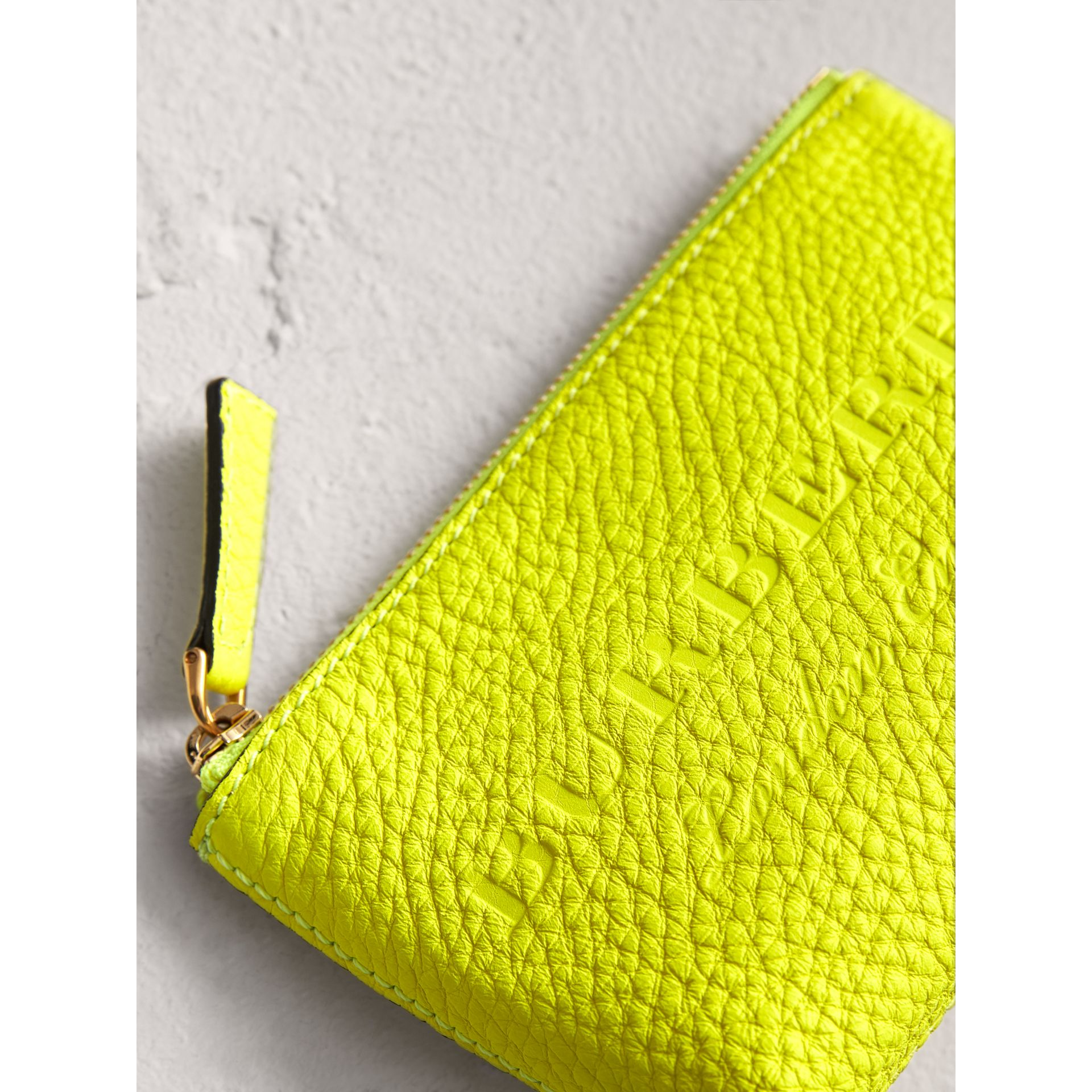Small Embossed Leather Zip Pouch in Bright Yellow | Burberry Canada - gallery image 1