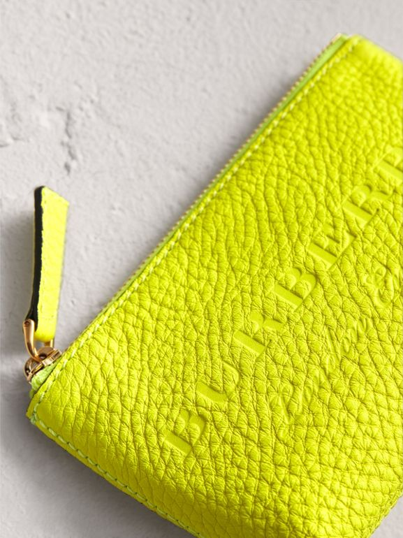 Small Embossed Leather Zip Pouch in Bright Yellow | Burberry - cell image 1