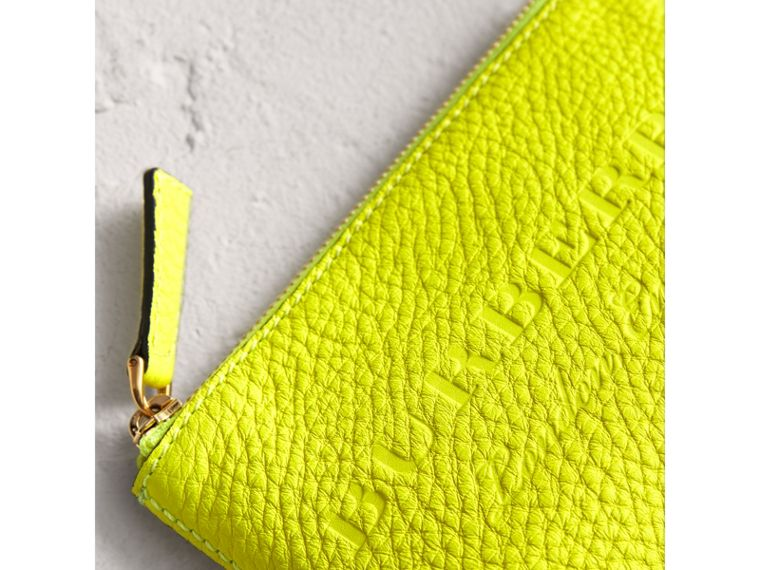 Small Embossed Leather Zip Pouch in Bright Yellow | Burberry Canada - cell image 1