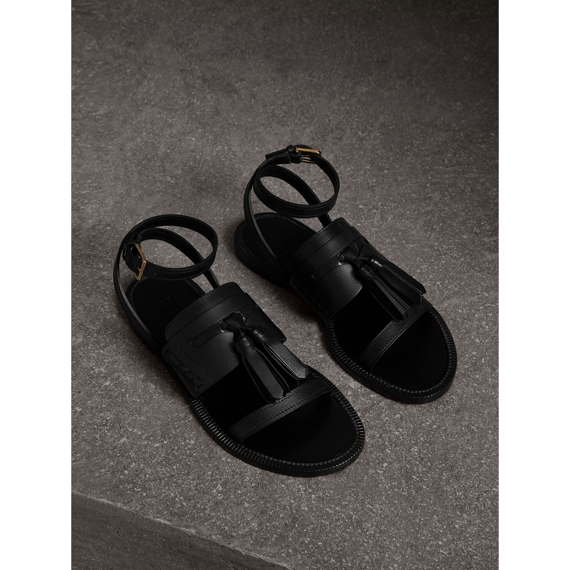 Tasselled Leather Sandals in Black - Women | Burberry - gallery image 0