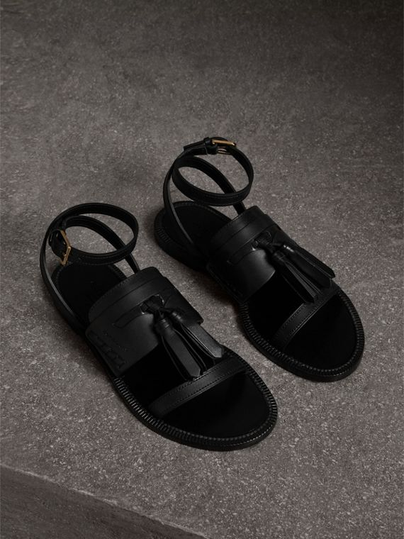 Tasselled Leather Sandals in Black