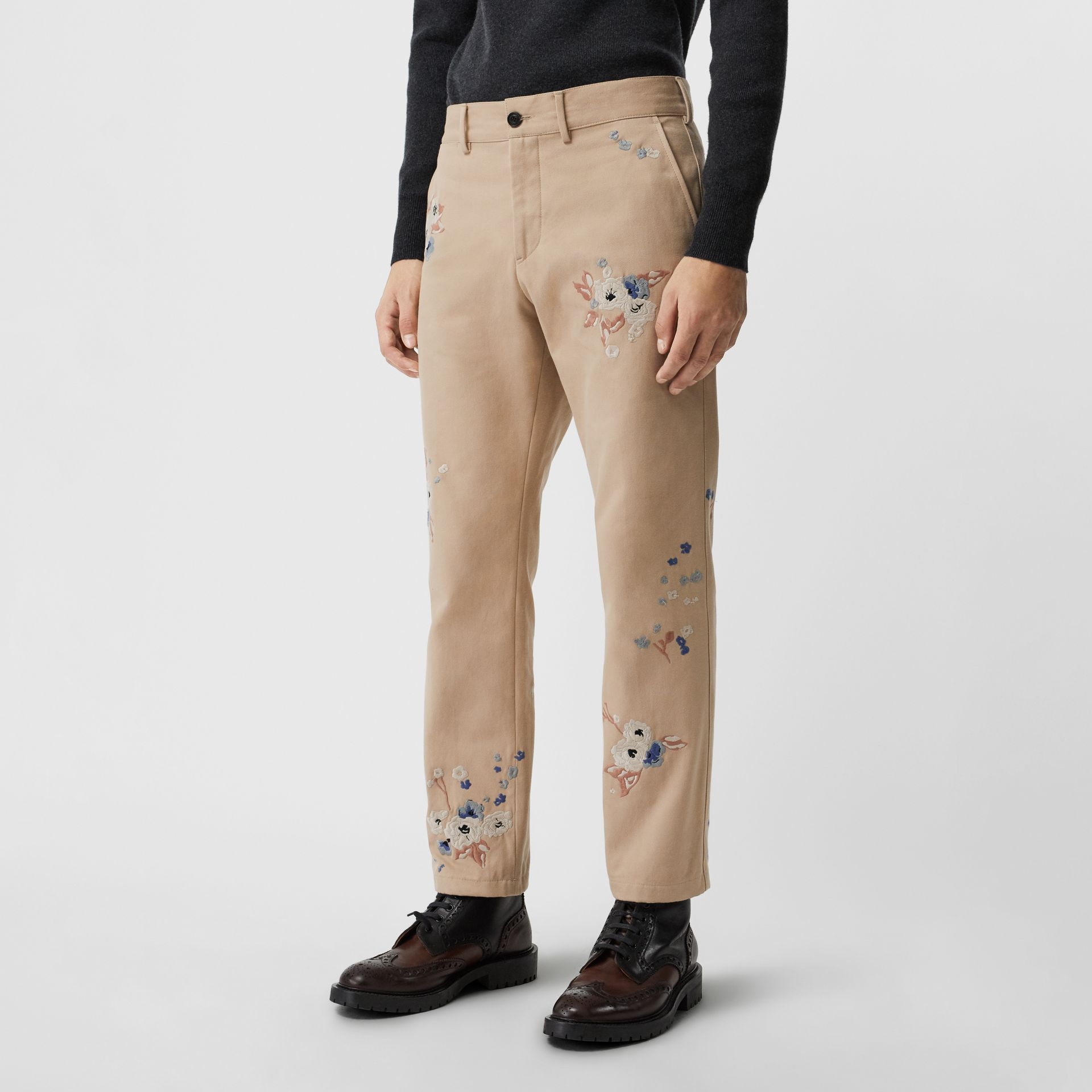 Slim Fit Floral Embroidered Cotton Chinos in Stone - Men | Burberry - gallery image 4