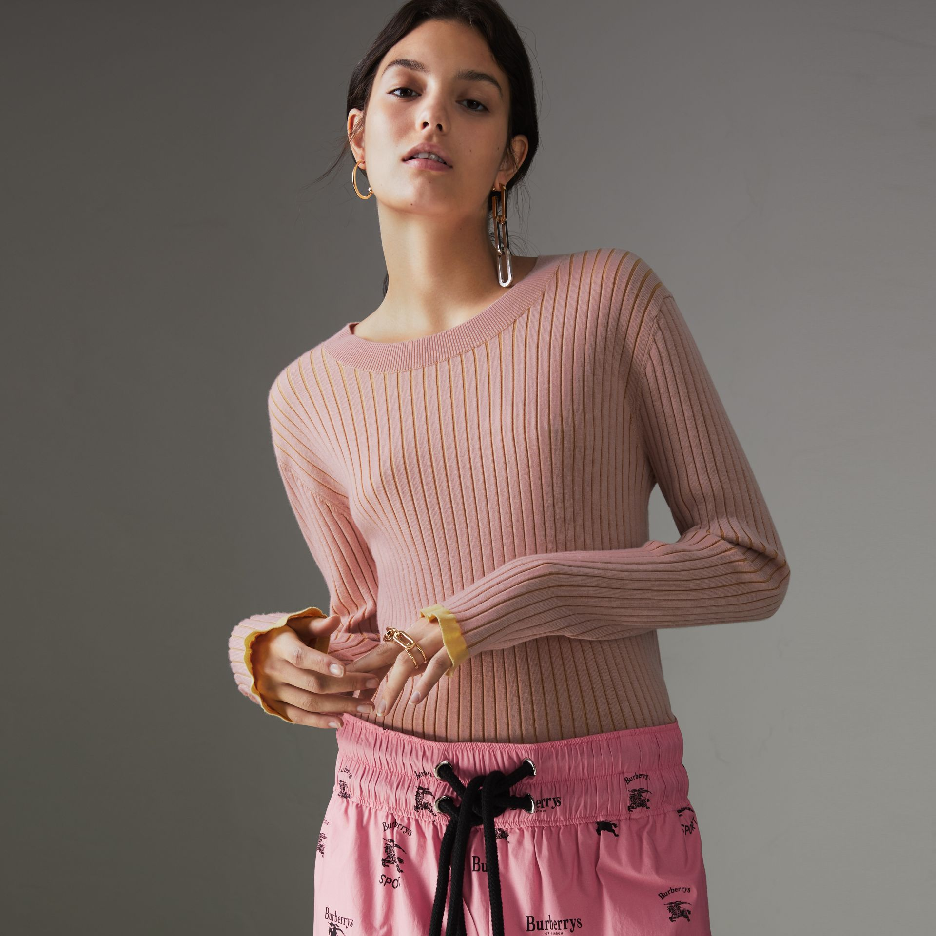 Rib Knit Cashmere Silk Sweater in Pale Pink - Women | Burberry - gallery image 0