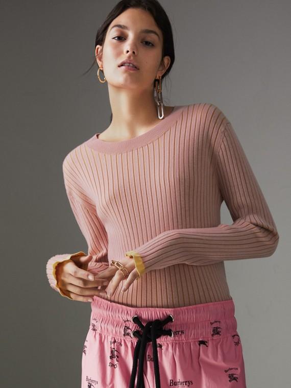 羅紋針織喀什米爾絲綢套頭衫 (淡粉紅色)