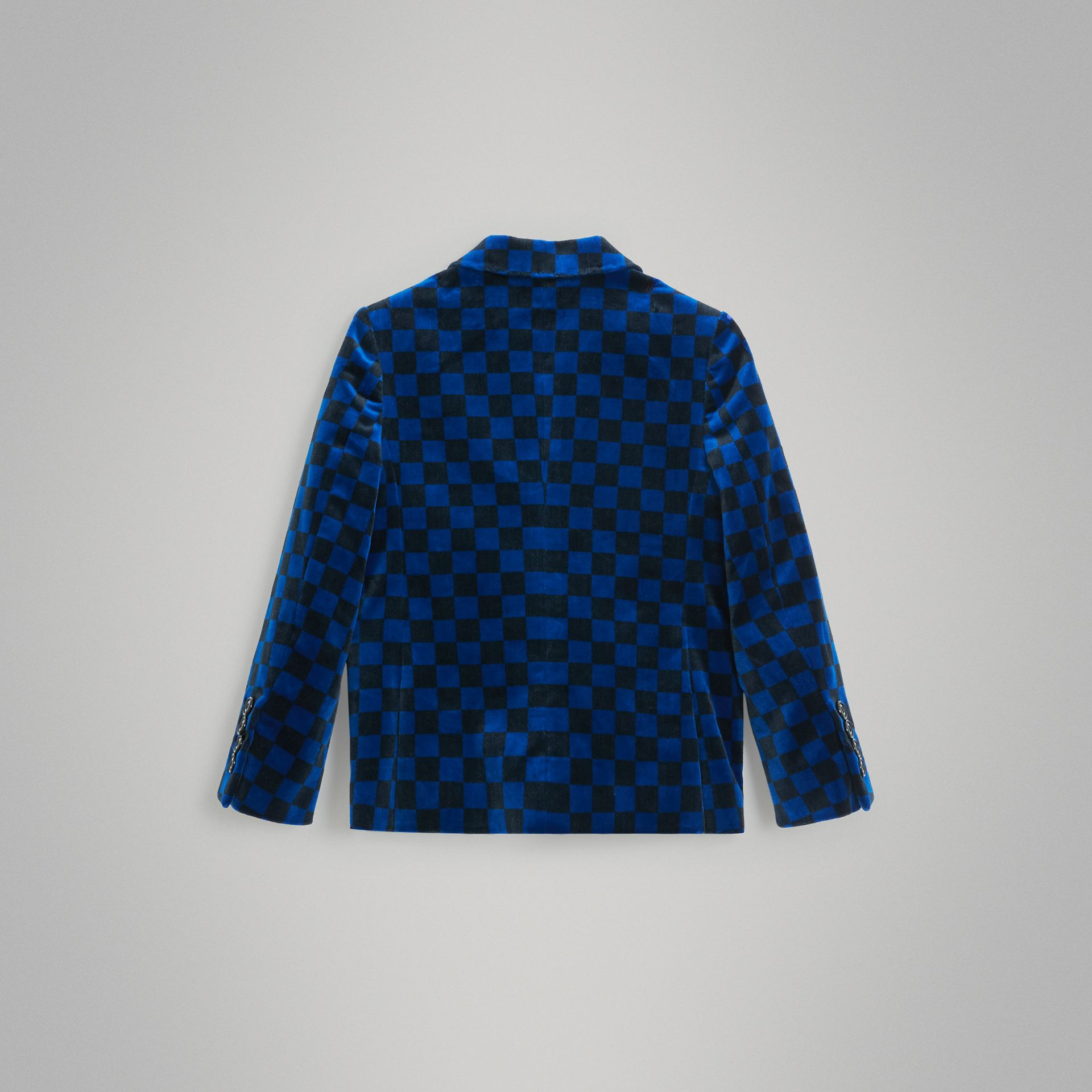 Chequer Stretch Velvet Jacket in Bright Blue | Burberry Hong Kong - gallery image 3