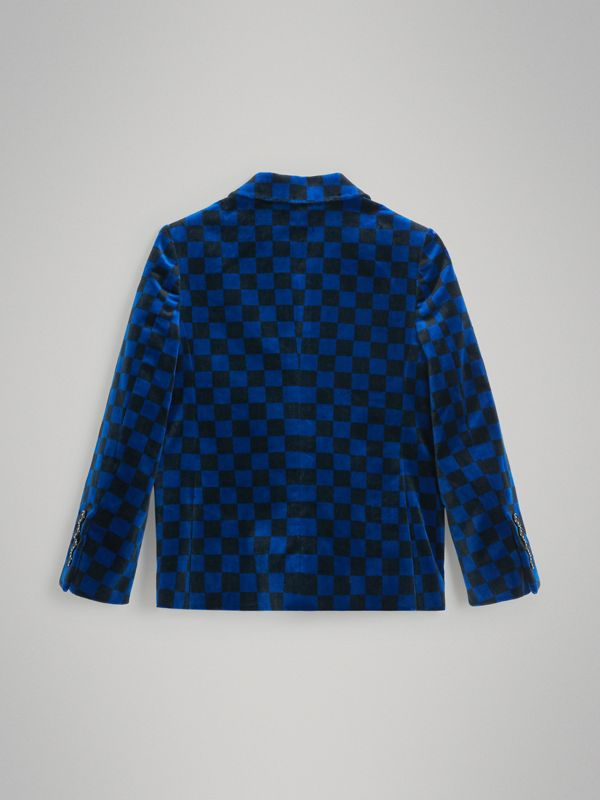 Chequer Stretch Velvet Jacket in Bright Blue | Burberry - cell image 3