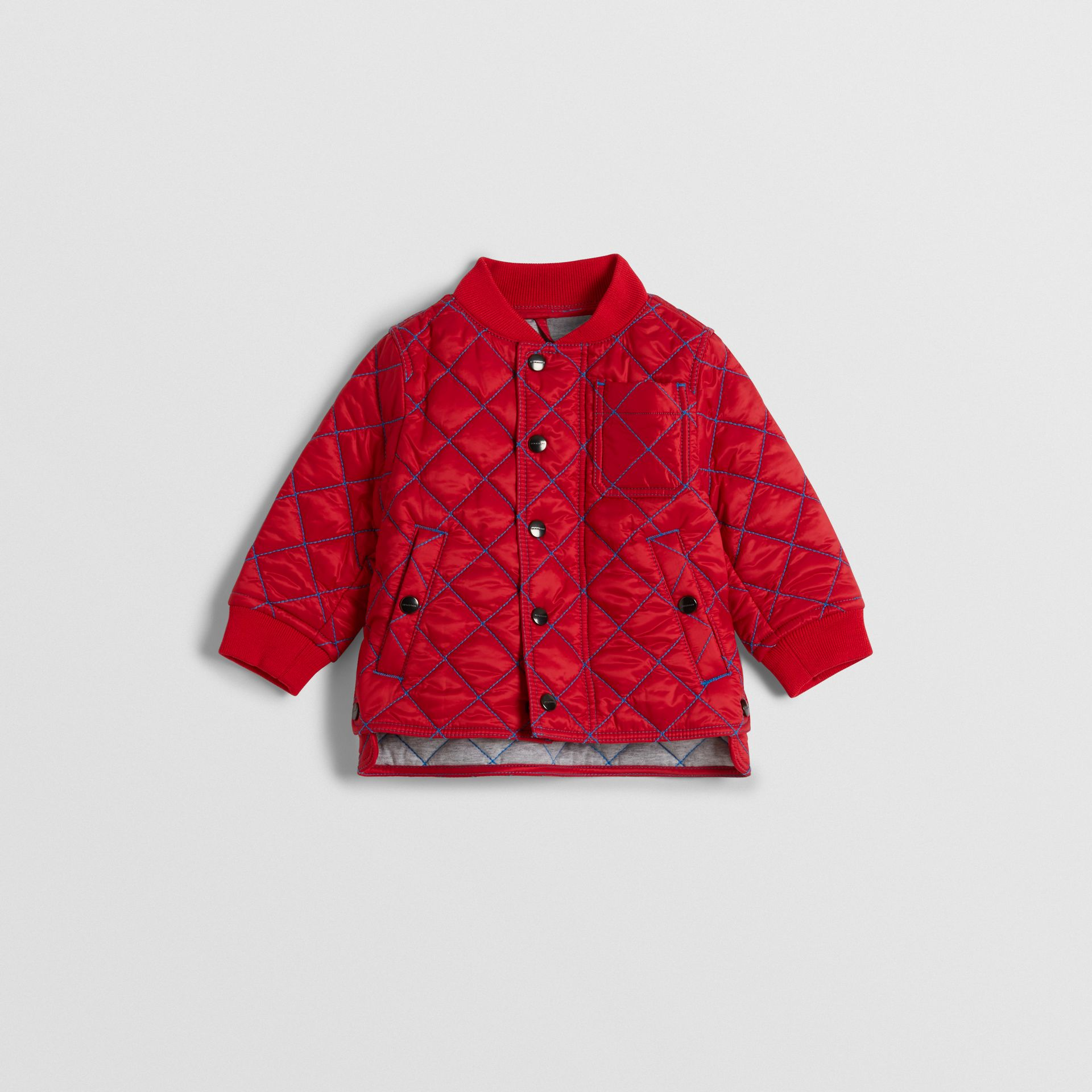 Topstitched Quilted Jacket in Bright Orange Red - Children | Burberry Hong Kong - gallery image 0