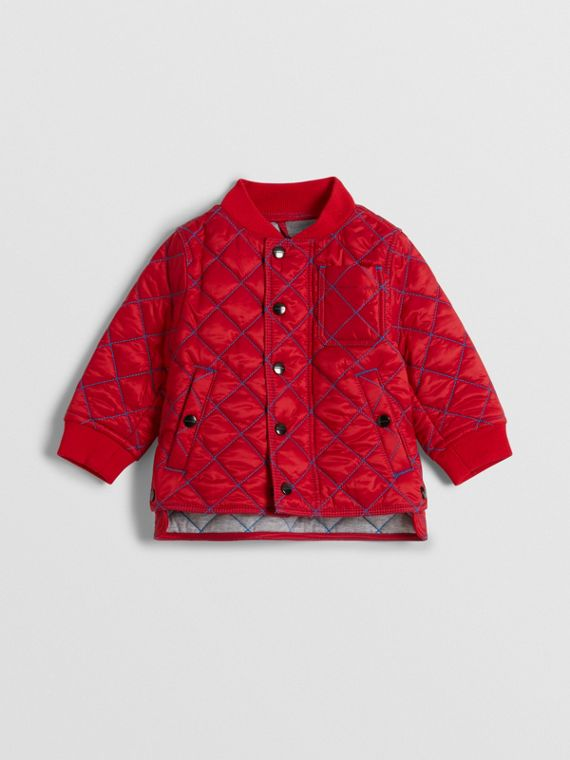 Topstitched Quilted Jacket in Bright Orange Red