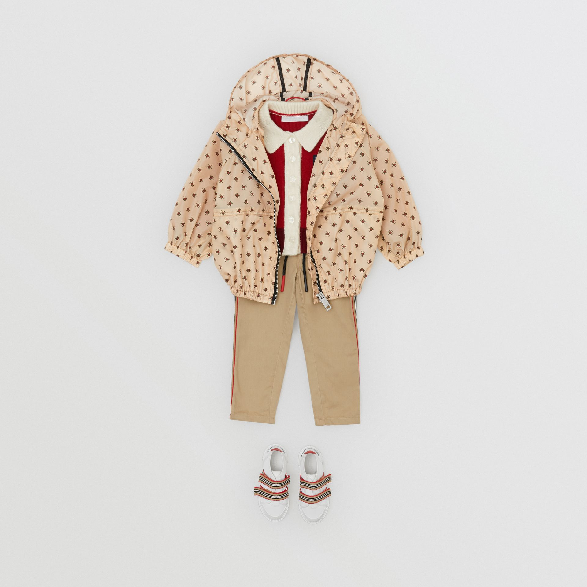 Star Print Lightweight Hooded Jacket in Military Red - Children | Burberry - gallery image 3