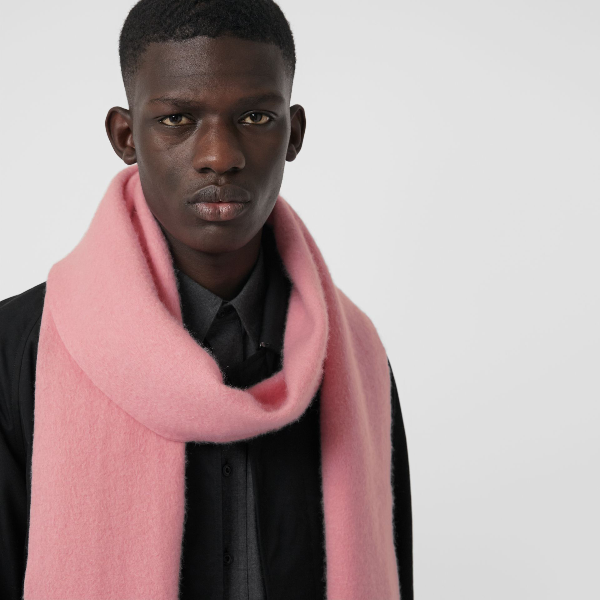 Embroidered Cashmere Fleece Scarf in Pale Rose | Burberry - gallery image 5