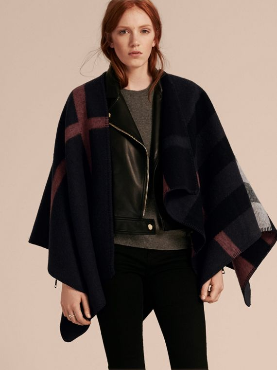 Check Wool and Cashmere Blanket Poncho Navy/black