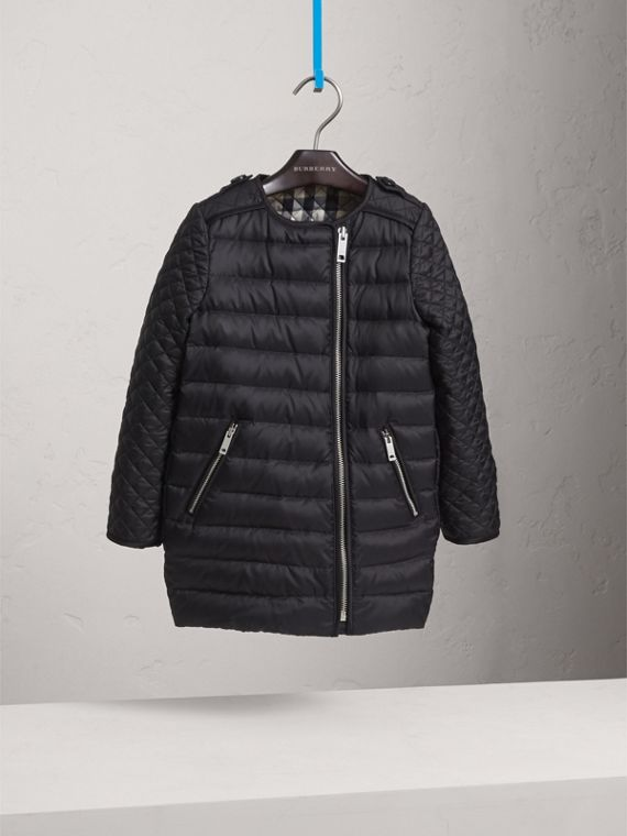 Quilted Down-filled Coat in Black