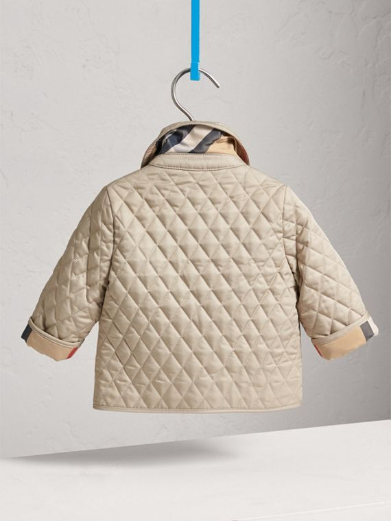 Check Detail Diamond Quilted Jacket in Mink | Burberry - cell image 3