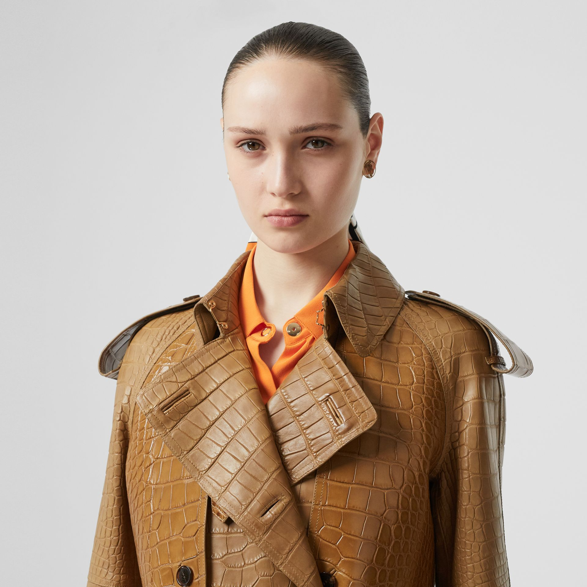 Alligator Trench Coat in Flaxseed - Women | Burberry - gallery image 1
