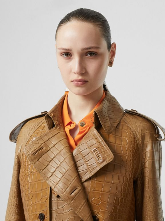 Alligator Trench Coat in Flaxseed - Women | Burberry - cell image 1