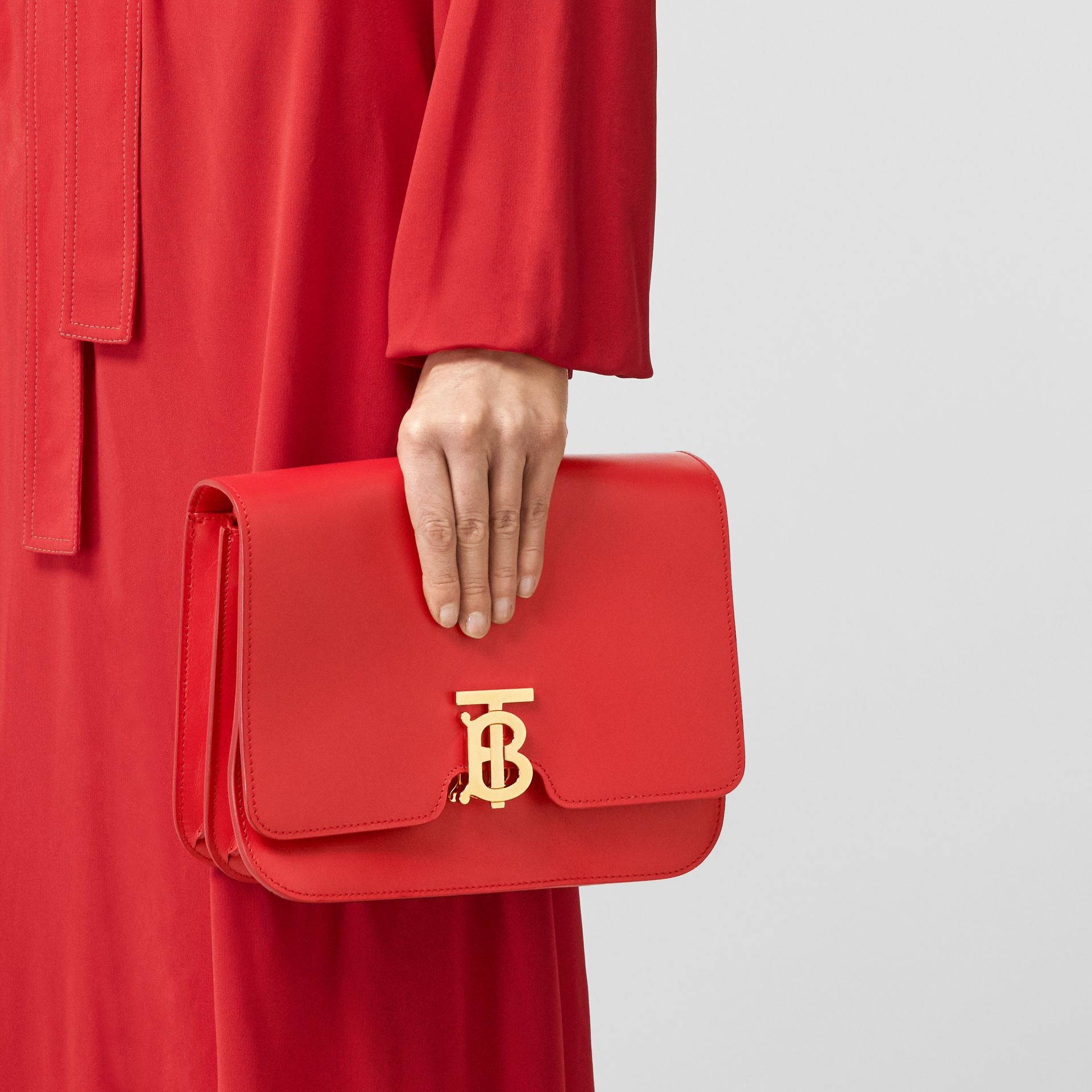Medium Leather TB Bag in Bright Red - Women | Burberry United States - gallery image 8