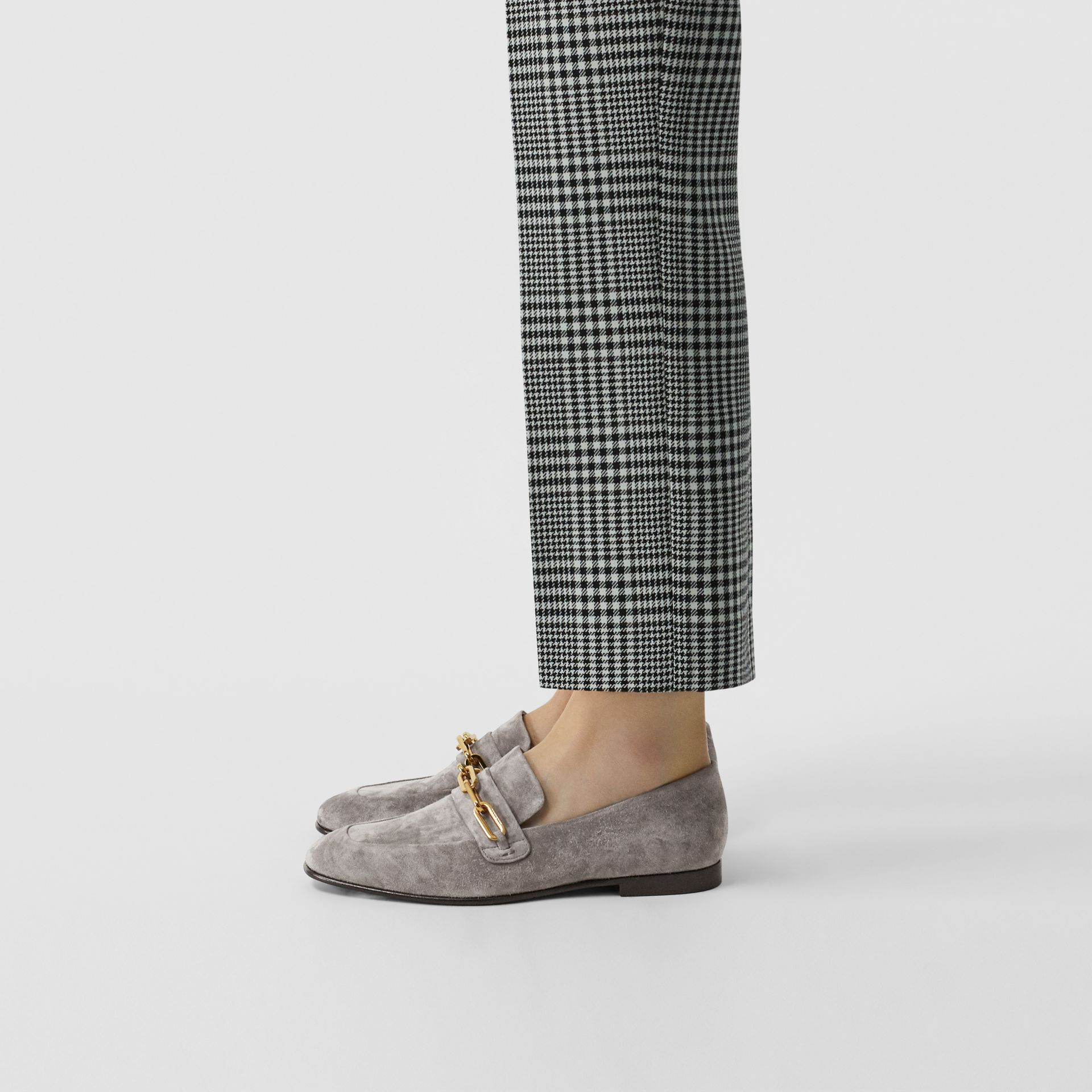 Link Detail Suede Loafers in Smokey Grey - Women | Burberry - gallery image 2