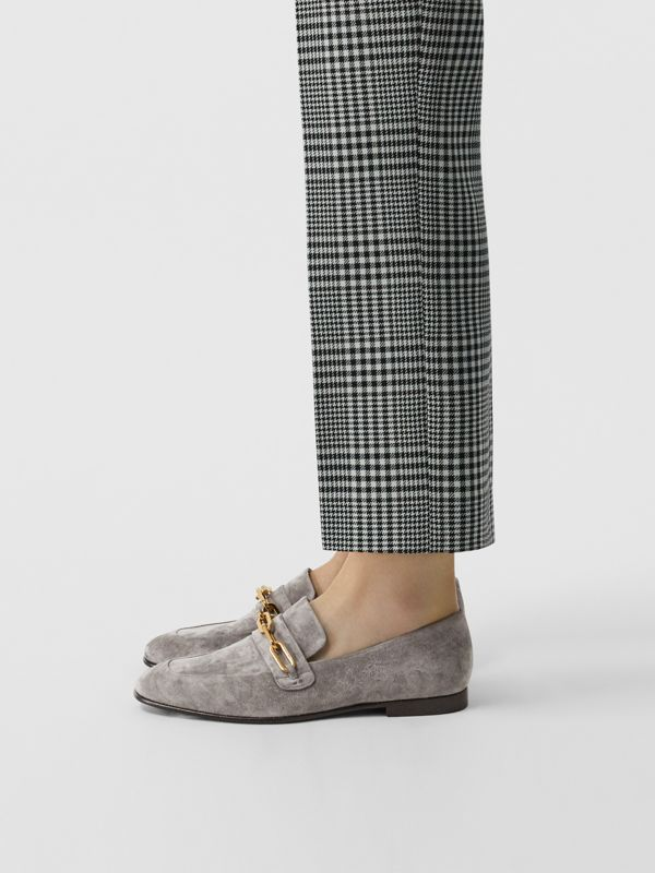 Link Detail Suede Loafers in Smokey Grey - Women | Burberry - cell image 2