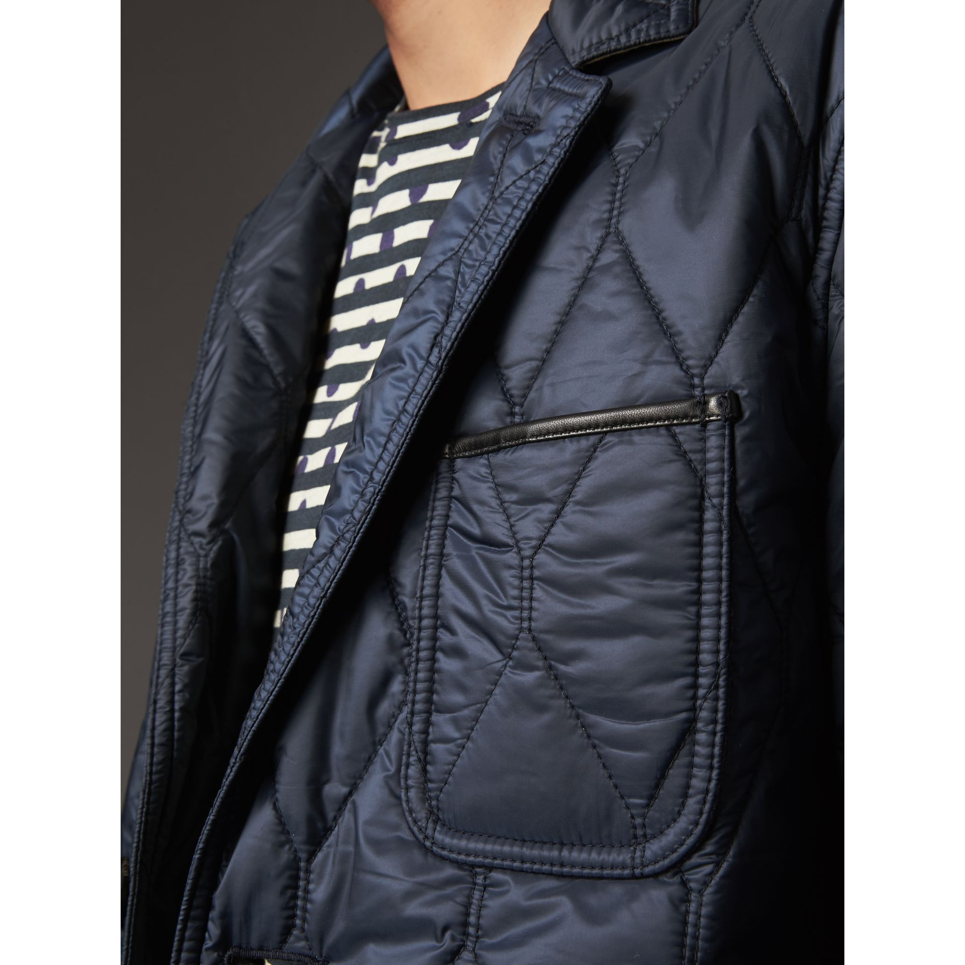 Lambskin Trim Quilted Blazer in Navy - Men | Burberry Australia - gallery image 4