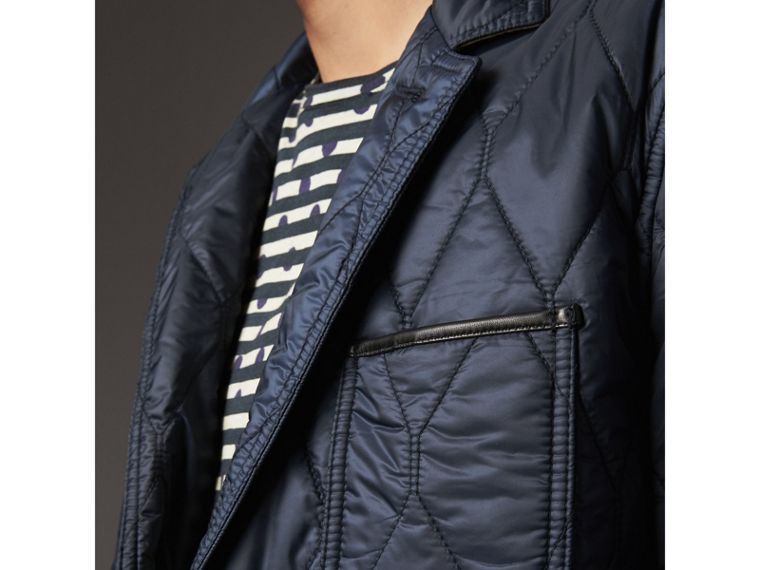 Lambskin Trim Quilted Blazer in Navy - Men | Burberry - cell image 4