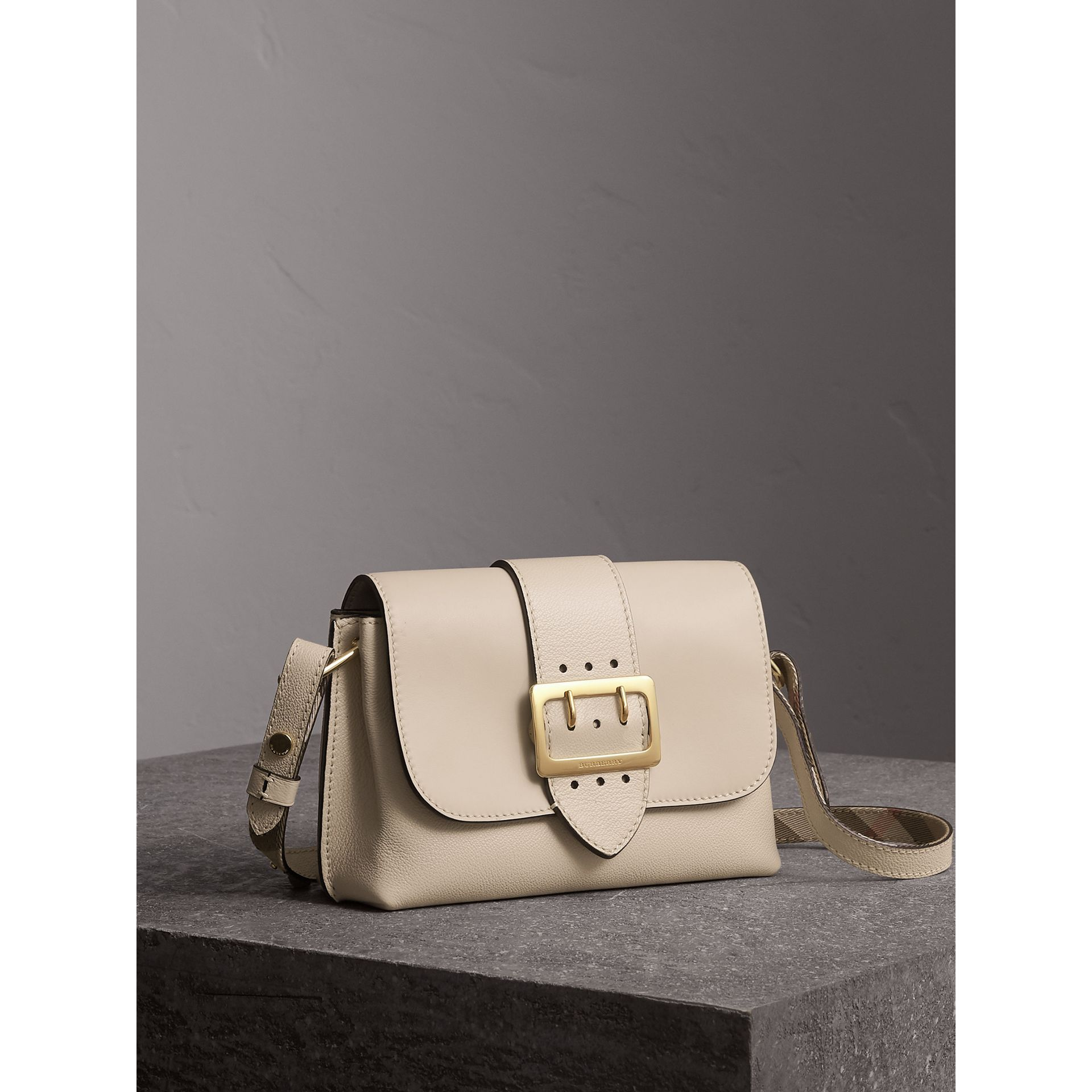 The Buckle Crossbody Bag in Leather in Limestone - Women | Burberry - gallery image 7