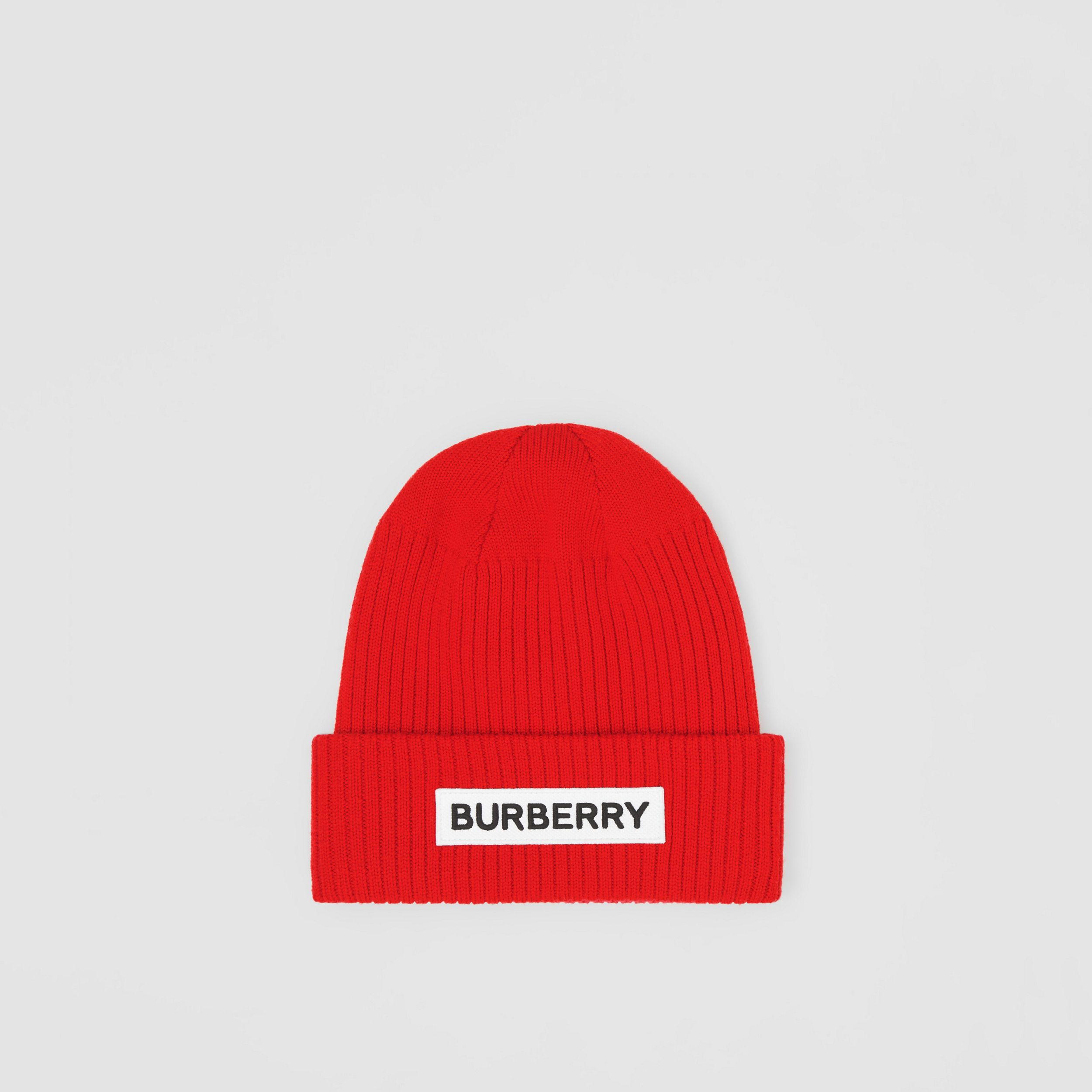 Logo Detail Rib Knit Merino Wool Beanie in Bright Red | Burberry Australia - 3