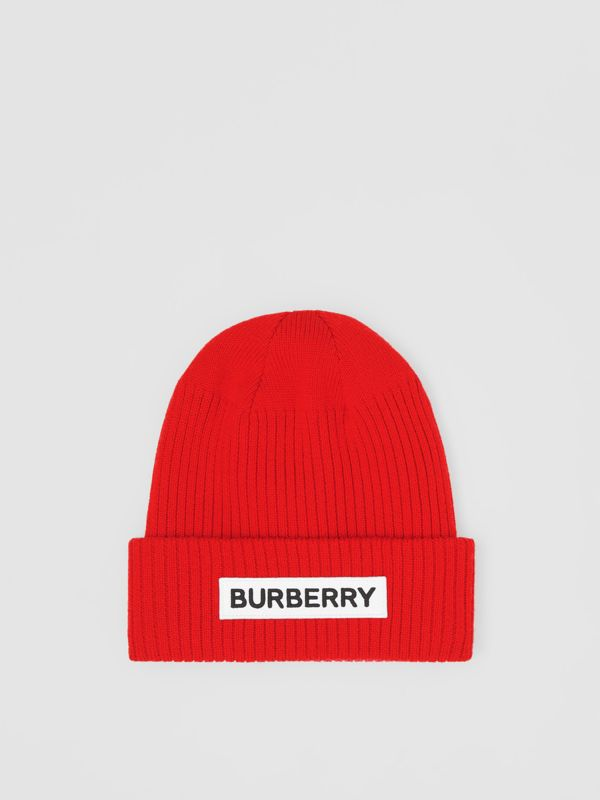Logo Detail Rib Knit Merino Wool Beanie in Bright Red - Children | Burberry United States - cell image 2