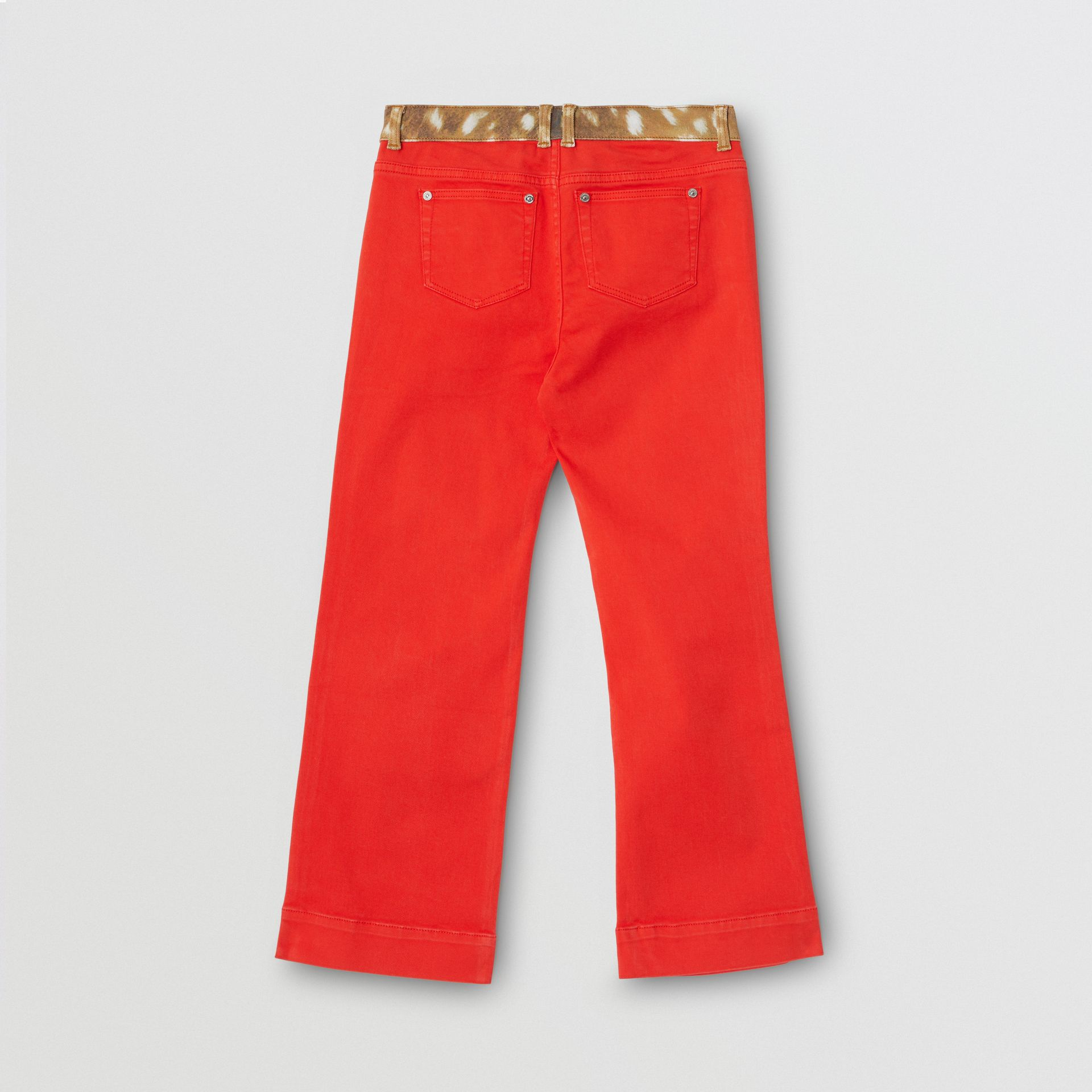 Flared Fit Deer Print Trim Japanese Denim Jeans in Bright Red | Burberry - gallery image 2