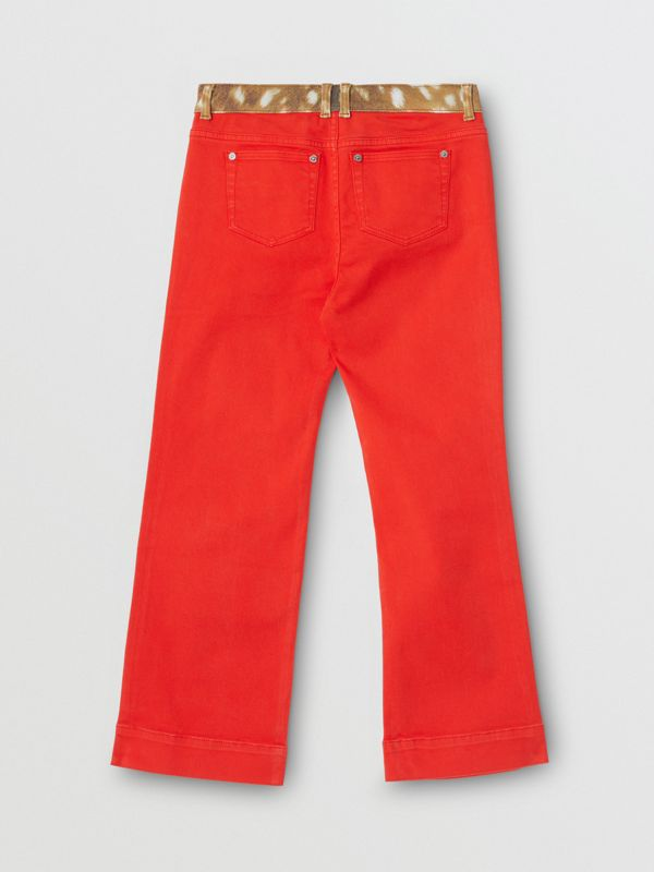 Flared Fit Deer Print Trim Japanese Denim Jeans in Bright Red | Burberry - cell image 2