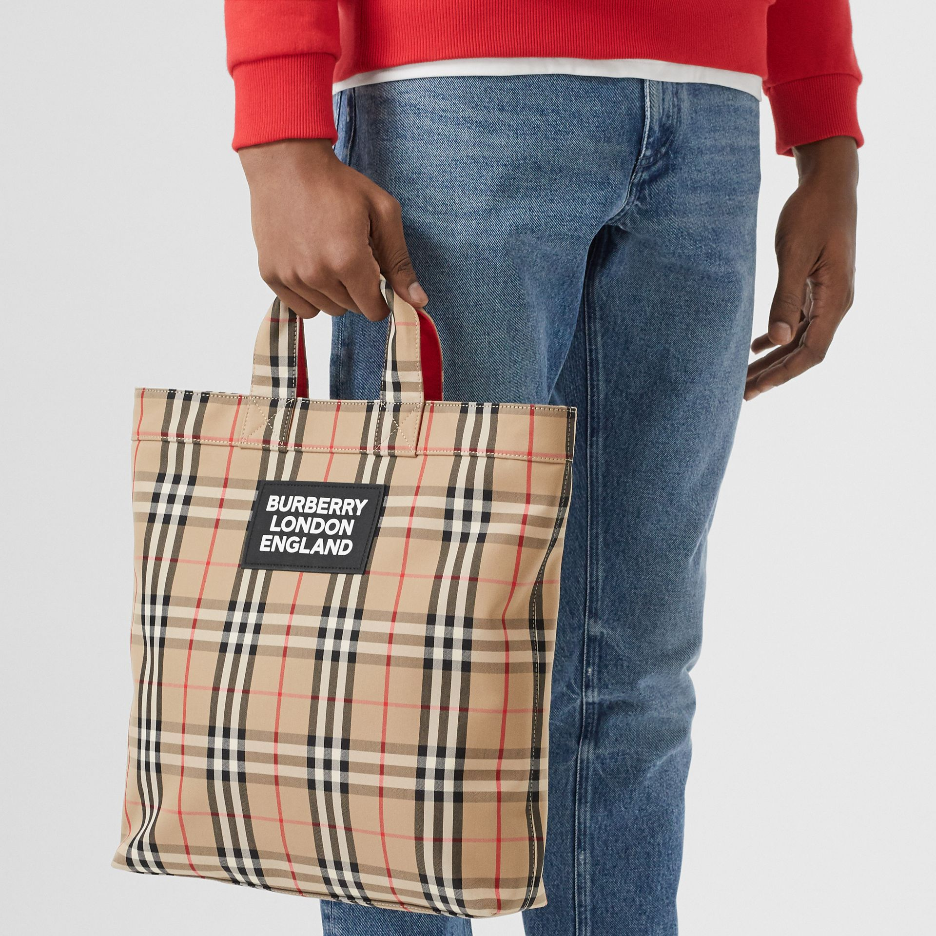 Logo Appliqué Vintage Check Cotton Blend Tote in Archive Beige - Men | Burberry United Kingdom - gallery image 2