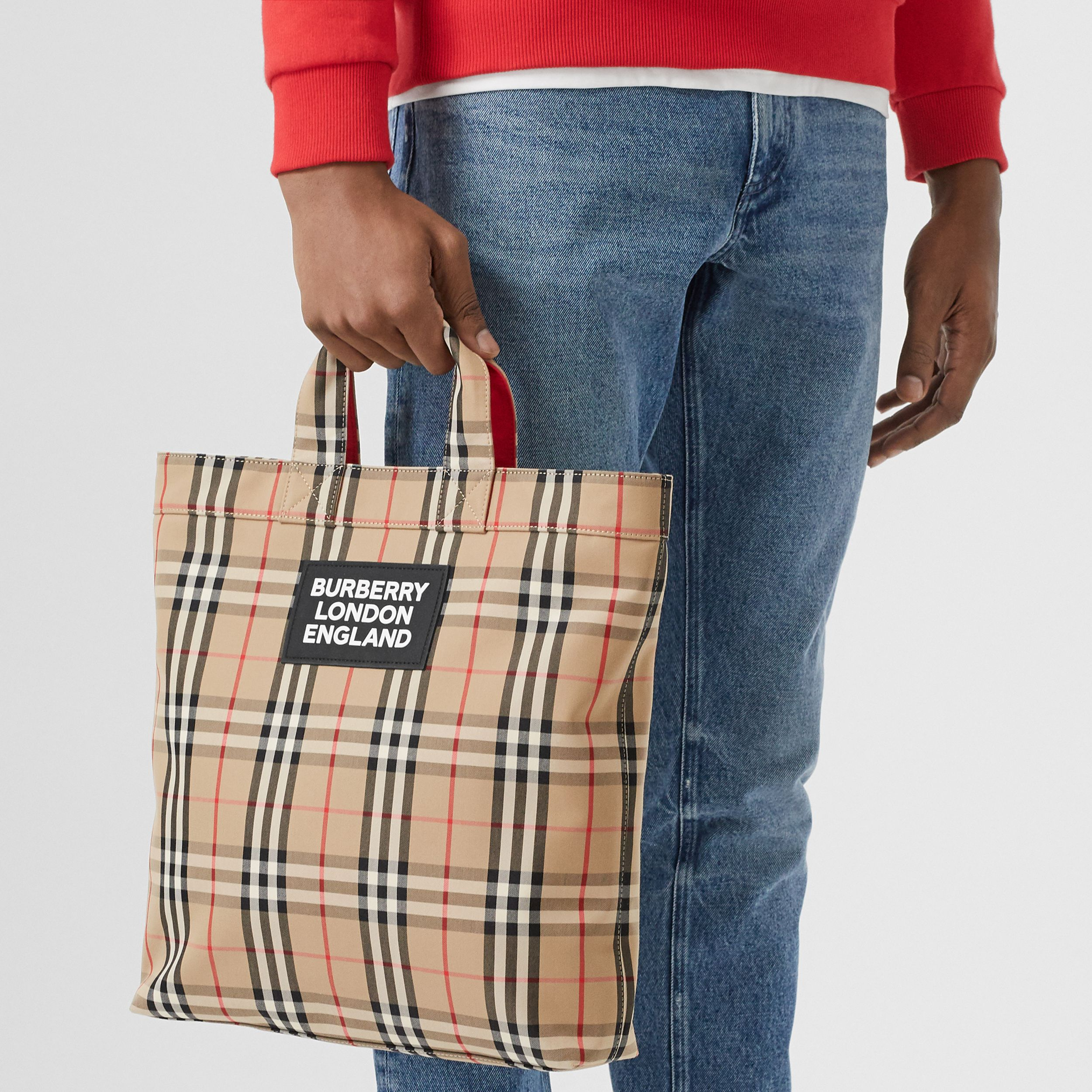 Logo Appliqué Vintage Check Cotton Blend Tote in Archive Beige - Men | Burberry - 3