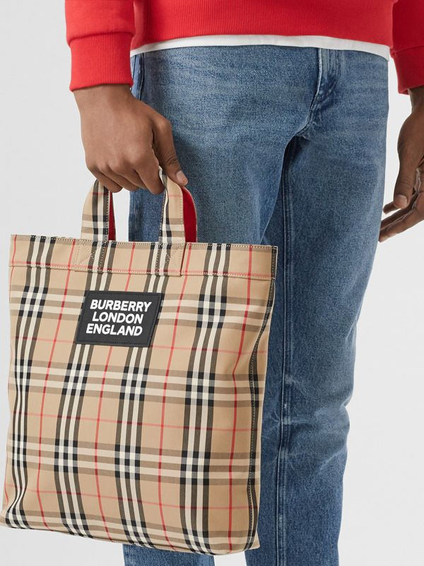 Logo Appliqué Vintage Check Cotton Blend Tote in Archive Beige - Men | Burberry United Kingdom - cell image 2