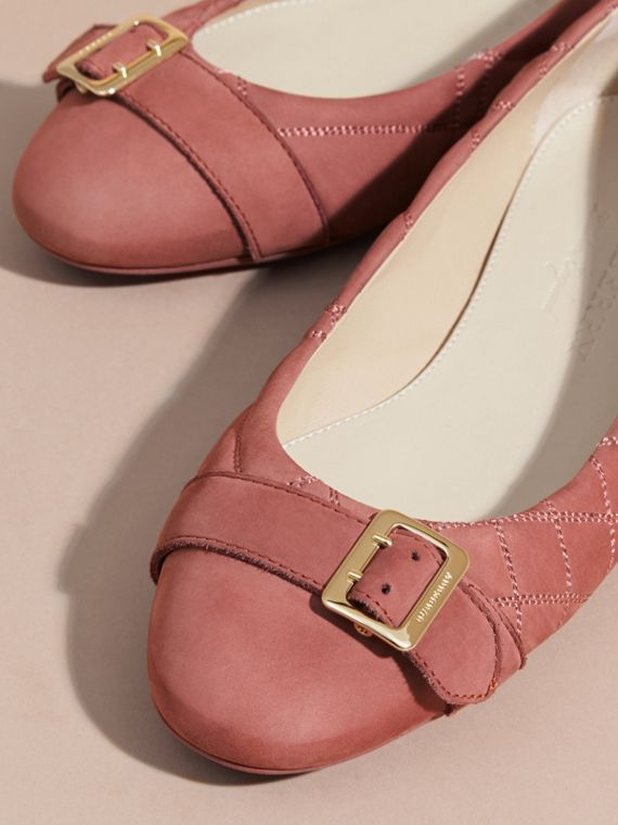 Buckle Detail Quilted Suede Ballerinas Antique Pink - cell image 2