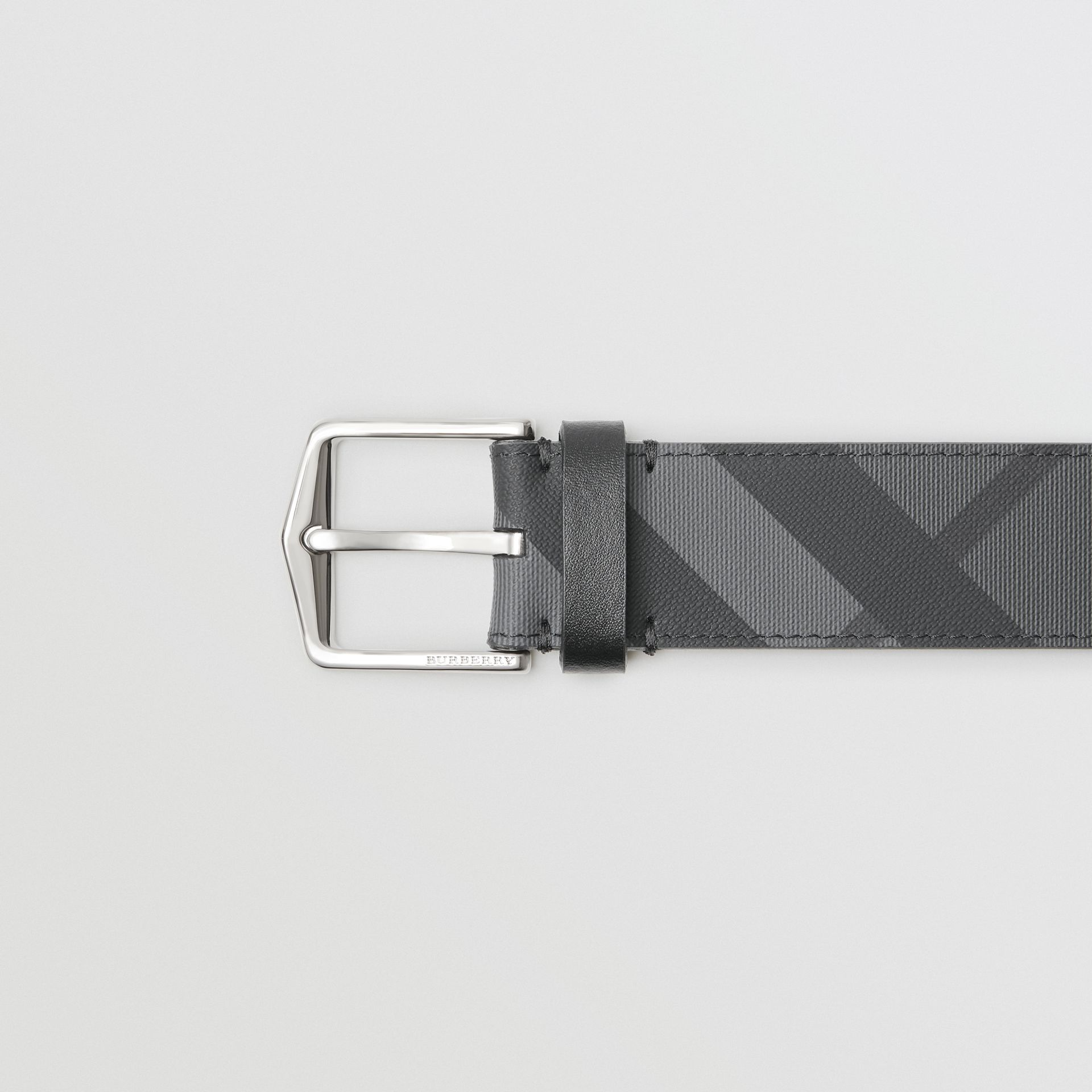 London Check Belt in Charcoal/black - Men | Burberry Australia - gallery image 1